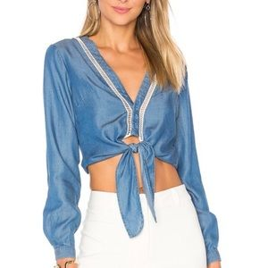 Lovers Friends chambray crop tie front top shirt M